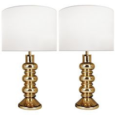 Pair of Flygsfors for Orrefors Gold Glass Lamps