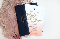 Ombre and Gold Foil Nautical Wedding Invitations by Carina Skrobeck Design via Oh So Beautiful Paper (1)