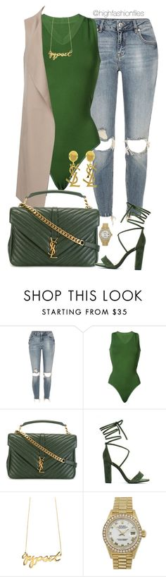 """""""All About Green"""" by highfashionfiles ❤ liked on Polyvore featuring River Island, Alaïa, Yves Saint Laurent, CC SKYE and Rolex"""