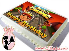 Subway Surfers Edible Image Cake Topper by Edible Pixs  Include Special text at checkout (optional)  Comes in 2 different sizes:  7.5x10 Edible Image