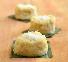 nilupak is a popular Filipino dessert made with mashed cassava, grated coconut and sweetened condensed milk