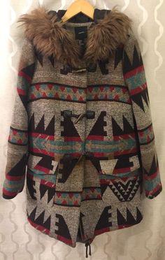 Forever 21 Tribal Aztec Print Toggle Parka Winter Coat Fur Lined Hood Size Large #FOREVER21 #Parka