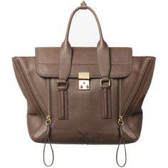 3.1 Phillip Lim Pashli Medium Satchel (€775) ❤ liked on Polyvore featuring bags, handbags, yellow gold, 3.1 phillip lim, brown bag, top handle satchel, satchel handbags and top handle satchel handbags