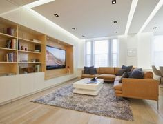 5 gypsum false ceiling designs with LED ceiling lights for living ...