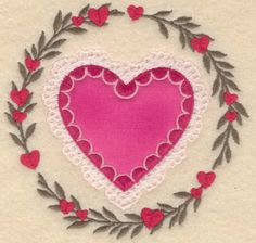 Heart In Circle Applique Embroidery Design | AnnTheGran