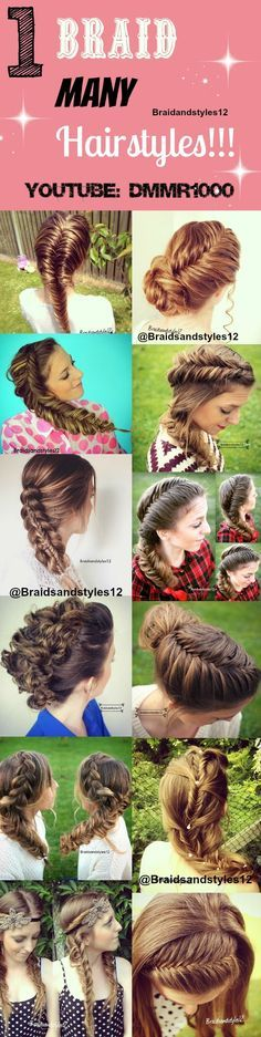 Who doesn't love a fishtail braid ! From one Braid you can do many different hairstyles . To learn how to Braid check out Braidsandstyles12 Youtube Channel : www.youtube.com/...