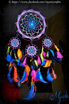 DIY Blue Feather and Bead Dream Catcher. This dream catcher is an attractive one made… Los Dreamcatchers, Dreamcatcher Tattoos, Dream Catcher Tutorial, Beautiful Dream Catchers, Diy Y Manualidades, Medicine Wheel, Sun Catcher, String Art, Mobiles