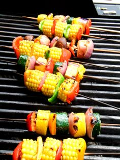 grilled corn and vegetable skewers Grilled Vegetable Skewers, Grilled Vegetables, Grilled Skewers, Grilling Recipes, Cooking Recipes, Healthy Recipes, Vegetarian Grilling, Healthy Grilling, Barbecue Recipes