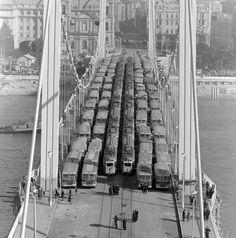 Budapest, Hungary - Load-test with tram cars of the new (rebuilt) Elisabeth Bridge in 1964. Originally it was built between 1898 and 1903, but it was blown up by retreating German troops in 1945.