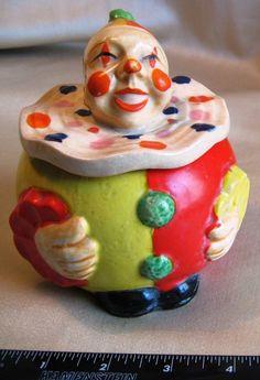 "Trinket Box Clown Japanese Maruhon Ware Marked ""Occupied Japan"" 1945-1952"