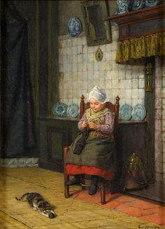 """Too Early to Start"" by Carl Mücke, 1923 << #knitting #knitter #portrait #art"