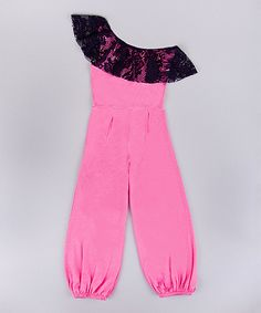 Another great find on #zulily! Pink & Navy Lace Ruffle Asymmetrical Jumpsuit - Girls by Mia Belle Baby #zulilyfinds