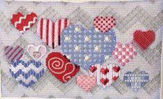 needlepoint hearts, designer unknown