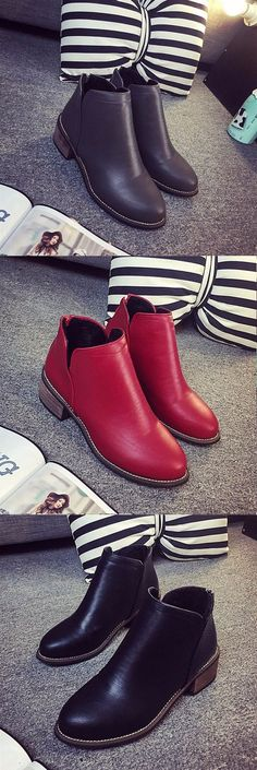 US$17.04 Zipper Square Heel Pure Color Ankle Short Boots For Women