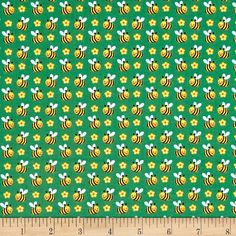 Spring Fling Bees Green from @fabricdotcom  Designed by Sanja Rescek for Blank Quilting, this cotton print fabric features rows of sting-free bees buzzing through the summer breeze. Perfect for quilting, apparel and home decor accents. Colors include black, yellow, golden orange, pink, white, sky blue and green.