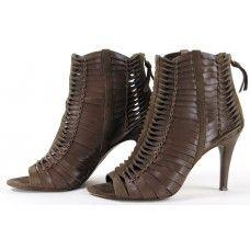 Eli Tahari Toffee Leather 'Sherri' Peep Toe Booties
