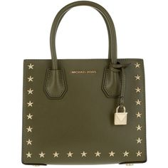 Michael Kors Handle Bag - Mercer Stud MD Messenger Olive - in green -... ($335) ❤ liked on Polyvore featuring bags, handbags, tote bags, green, green leather purse, olive green tote bag, brown leather tote, leather shopper totes and brown leather tote bag