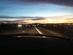 Sunset through windshield