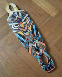 Hand-painted longboard by Andreas Preis // Owl // www.designerpreis.com