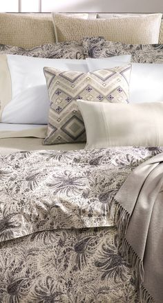 The Dover Street collection is defined by Ralph Lauren's rich legacy of sophisticated luxury and understated glamour. Subtle violet hues complement the warm gray palette while delicate stitchwork and embroidery elevates each piece. Quilted velvet, soft cotton, and supple suede unite to bring exquisite texture. #bedding #designerbedding #luxurybedding