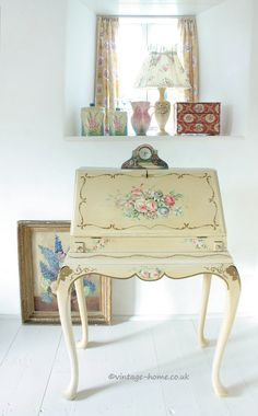 Vintage Home Shop - A stunning 1940s Hand Painted Ladies Writing Bureau: www.vintage-home.co.uk