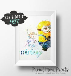 Despicable Me Art Print Poster Minions Wall Art Nursery