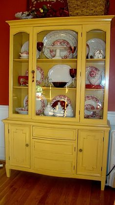 Painted Furniture Inspirationfresh mustard yellow china cabinet tv cabinet painted with eco-friendly DIY clay paint from Country Chic PaintChina cabinet makeover. Try this in Chalk Paint, Arles, for a less glossy, more . Old Furniture, Paint Furniture, Repurposed Furniture, Furniture Projects, Furniture Making, Furniture Makeover, Vintage Furniture, House Furniture, Repurposed China Cabinet