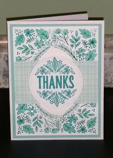 """This alternative card was made with August 2016 Paper Pumpkin kit, Bold Botanicals. Using the """"corner"""" stamp in each of the corners of this A2 size card, filling the space in between with some designer series paper, and then popping up the sentiment, which was included in the kit, on an oval shape cut from Stampin' Up!'s Stitched Shapes Framelits Dies and stamped with Bermuda Bay ink. Using your favorite color ink and sentiments you can create a good number of cards very easily."""