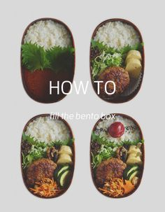 How to fill the bento box #007/ 4 steps for teriyaki pork hamburger steak bento