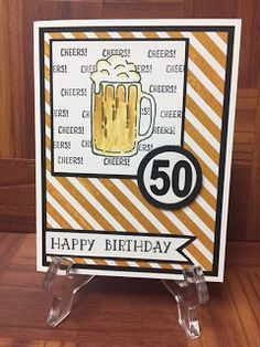 Stampin Up, Masculine, Birthday, . Omit age and use any image on script background