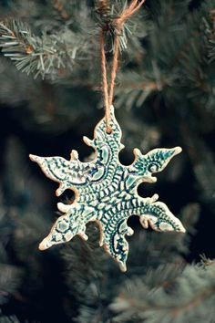 DIY Ceramic Lace Snowflake Ornaments