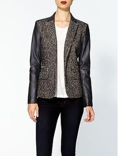 MICHAEL Michael Kors Tweed Jacket With Faux Leather Sleeves | Piperlime  I NEED THIS!