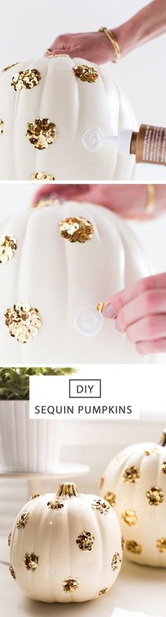 Who says pumpkins can be spooky, but not sparkly? This easy DIY idea using white pumpkins and gold sequins is a fantastic home decor idea for Halloween or Thanksgiving and would look great on the porch, mantel, or as a dining table centerpiece!