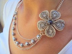 SilverGrey flower necklace - @Patty Miller Saw some flowers like that at hobby lobby!