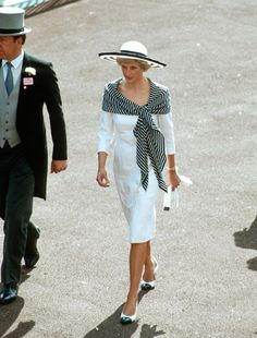Princess Diana of Wales in Catherine Walker - Royal Ascot 1988