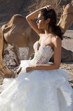 Strapless lace ball gown with pearl beaded bodice. Pnina Tornai 2016 wedding dress collection