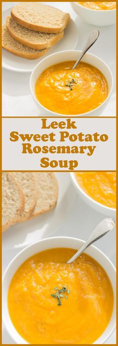 This leek, sweet potato and rosemary soup is addictive. The combination of flavours marinates together perfectly creating such a delicious creamy comfort soup. Not only that, it's really simple and qu (Chicken Stew Sweet Potato) Vegetarian Recipes, Cooking Recipes, Healthy Recipes, Vegetarian Dinners, Healthy Meals, Veggie Soup Recipes, Leek Recipes, Paleo Soup, Cooking Games