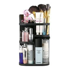 Jerrybox Rotating Makeup Organizer, Adjustable Multi-Function Cosmetic Storage Unit, Compact Size with Large Capacity, Fits Different Types of Cosmetics and Accessories (Square Black) Mime Makeup, Contour Makeup, Eye Makeup Tips, Sephora Makeup, Makeup Products, Beauty Makeup, Beauty Products, Beauty Tips, Cheekbones Makeup