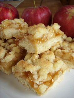 Apple Crumb Bars. It tastes remarkably like apple pie, but without all the fuss.  These bars are especially great if you would like apple pie but only want a couple of bites rather than a whole piece.  They are delicious plain, and even better with a tiny dollop of whipped cream on top!