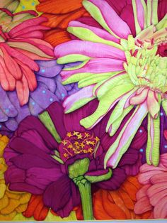 "Detail--""Zinnias"", Velda Newman -- Contemporary quilts  http://www.veldanewman.com/index.html Seen at the Shelburne Museum exhibition ""Larger than Life"" -- May 2013"