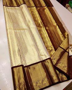 Bridal Sarees South Indian, Indian Bridal Wear, Wedding Saree Blouse Designs, Wedding Silk Saree, Tussar Silk Saree, Pure Silk Sarees, Bollywood Fashion, Bollywood Style, Gold Pattern