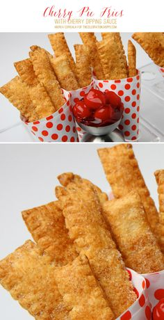 Cherry Pie Fries With Cherry Dipping Sauce Recipe - A yummy treat for a summer party or picnic!