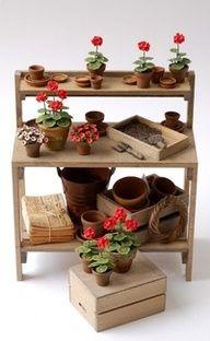 Miniature garden potting table.