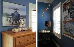 Boy Room, Blue Wall, Bike Table, Planet Mobile, Fun