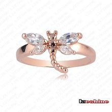 crystal Jewelry Gorgeous 18k Rose Plated The Ring O Synthetic Rhinestone Rings for Woman And Fashion Jewelry No Minorder Rg175