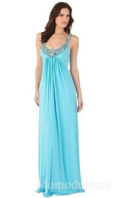 Embellished Chiffon A-Line Square Sleeveless Empire Prom Dresses In Stock momodresses25522