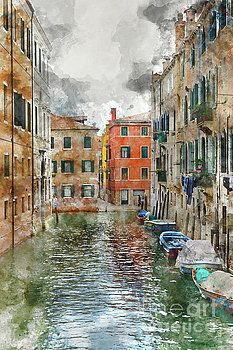 Venice Italy Canals with Colorful Houses and Boats by Brandon Bourdages