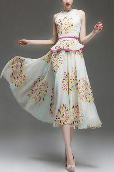 Fabulous Exotic Print Sleeveless Peplum Chiffon Dress - OASAP.com