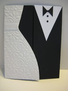 I revisited a card I did a couple of years ago for this wedding card. It's a gate fold, opening in the middle, but it's a little hard to s...