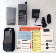 Vtg Motorola Thick Analog Cell Cellular Phone w/ Accessories New Battery Charger #Motorola #Brick